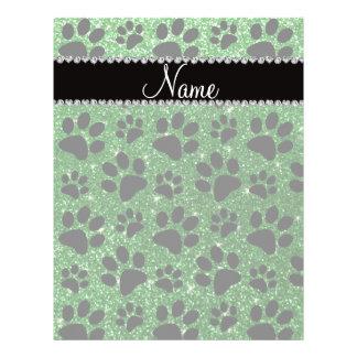 Custom name green glitter black dog paws flyer design