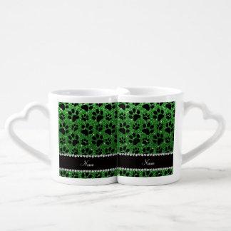 Custom name green glitter black dog paws couples mug