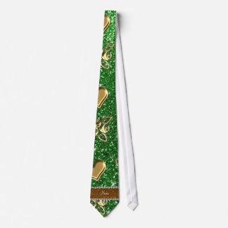 Custom name green glitter gold roses hearts tie