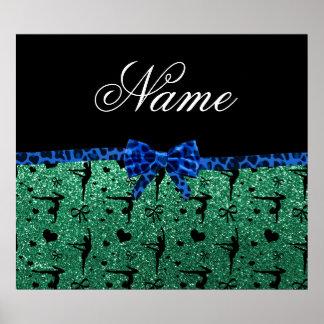 Custom name green glitter gymnastics blue bow posters