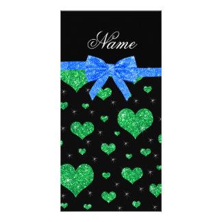 Custom name green glitter hearts blue bow photo greeting card