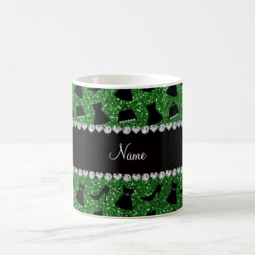 Custom name green glitter high heels dress purse coffee mugs