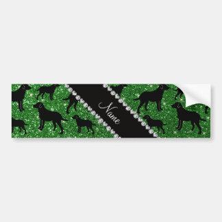 Custom name green glitter labrador retrievers bumper stickers
