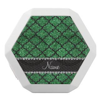 Custom name green glitter moroccan white boombot rex bluetooth speaker