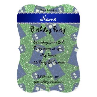 "Custom name green glitter police box 5"" x 7"" invitation card"