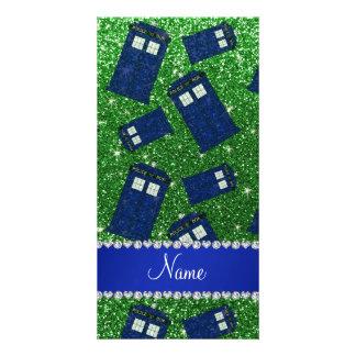 Custom name green glitter police box picture card