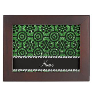 Custom name green glitter retro flowers memory box