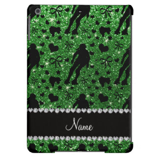 Custom name green glitter roller derby iPad air cover