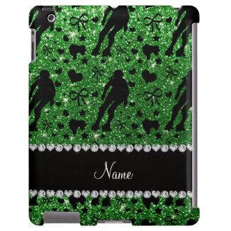 Custom name green glitter roller derby
