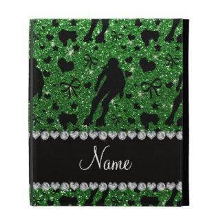 Custom name green glitter roller derby iPad folio covers