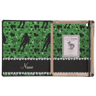 Custom name green glitter roller derby cover for iPad