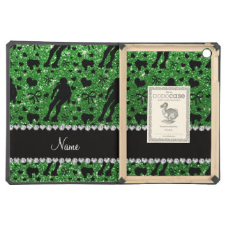 Custom name green glitter roller derby cover for iPad air