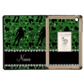 Custom name green glitter roller derby iPad mini covers