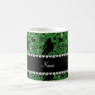 Custom name green glitter roller derby coffee mug