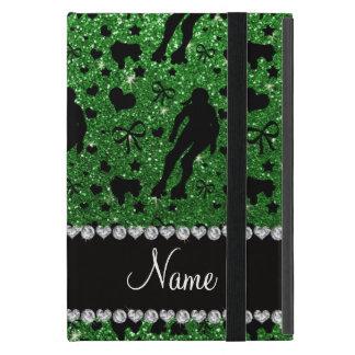 Custom name green glitter roller derby iPad mini cover