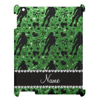 Custom name green glitter roller derby iPad cases