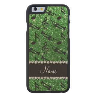 Custom name green glitter trumpets music notes carved® maple iPhone 6 case