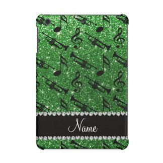 Custom name green glitter trumpets music notes iPad mini covers