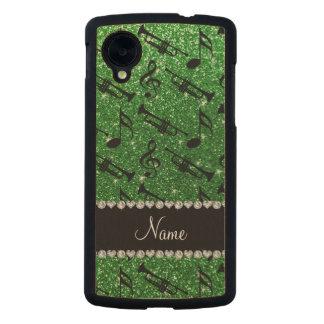 Custom name green glitter trumpets music notes carved® maple nexus 5 slim case