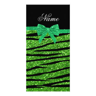 Custom name green glitter zebra stripes bow photo greeting card
