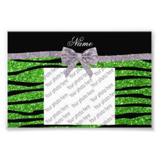 Custom name green glitter zebra stripes silver bow photo print