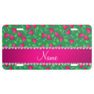 Custom name green pink cosmos limes license plate