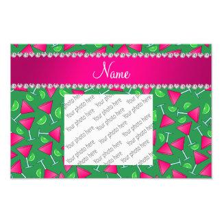 Custom name green pink cosmos limes photographic print