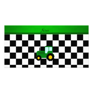 Custom name green tractor black and white checkers personalised photo card