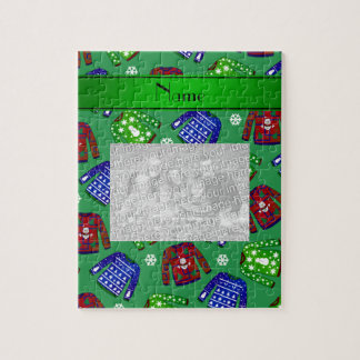 Custom name green ugly christmas sweater pattern puzzles