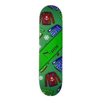Custom name green ugly christmas sweater pattern 20 cm skateboard deck