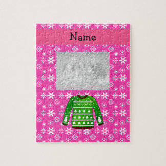 Custom name green ugly christmas sweater pink jigsaw puzzle
