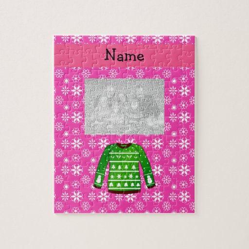 Custom name green ugly christmas sweater pink puzzle