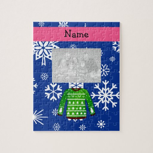 Custom name green ugly christmas sweater jigsaw puzzle