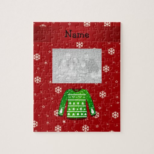 Custom name green ugly christmas sweater puzzle