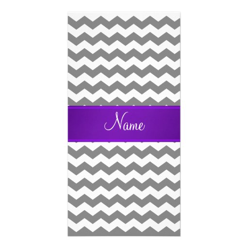 Custom name grey chevrons purple stripe custom photo card