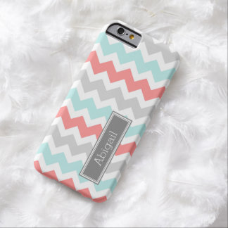Custom Name Grey Coral Aqua Chevron Barely There iPhone 6 Case