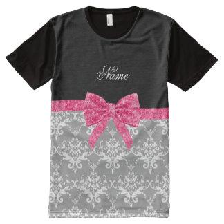 Custom name grey damask pink glitter bow All-Over print T-Shirt