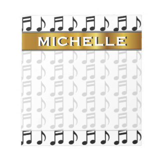 Custom Name + Grid of Musical Notes Notepad