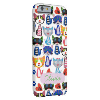 custom name happy pop cats pattern barely there iPhone 6 case