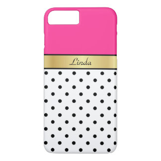 Custom Name Hot Pink Fuchsia White Black PolkaDots iPhone 8 Plus/7 Plus Case