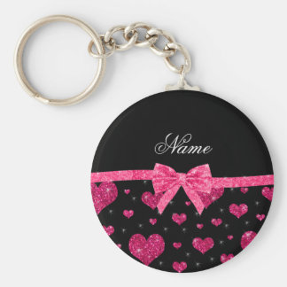 Custom name hot pink glitter hearts bow basic round button key ring