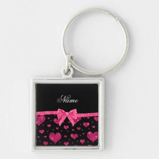 Custom name hot pink glitter hearts bow keychain