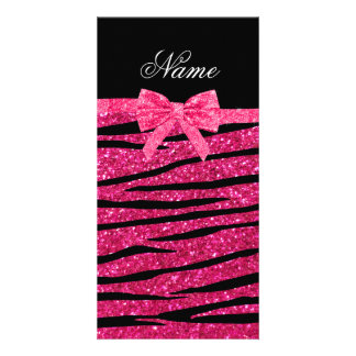 Custom name hot pink glitter zebra stripes bow photo greeting card
