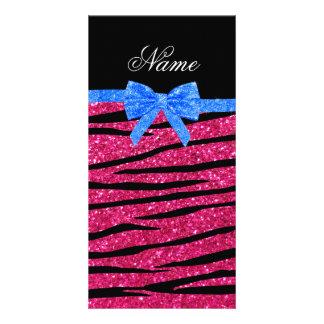 Custom name hot pink glitter zebra stripes bow personalized photo card