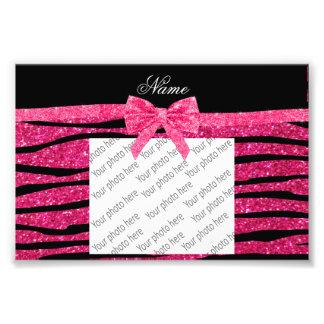 Custom name hot pink glitter zebra stripes bow photographic print
