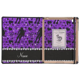 Custom name indigo glitter purple roller derby cases for iPad