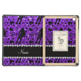 Custom name indigo glitter purple roller derby iPad air cases