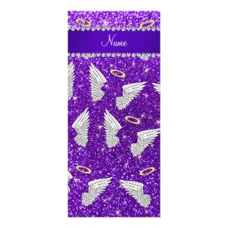 Custom name indigo purple glitter angel wings full color rack card