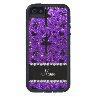 Custom name indigo purple glitter ballerinas case for the iPhone 5