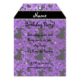 Custom name indigo purple glitter ballroom dancing personalized announcement cards